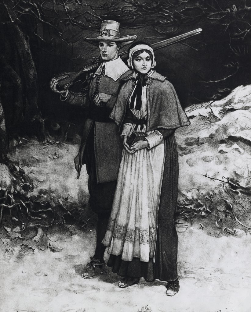 Stock Photo: 255-17310 Portrait of Rose and Miles Standish,  illustration