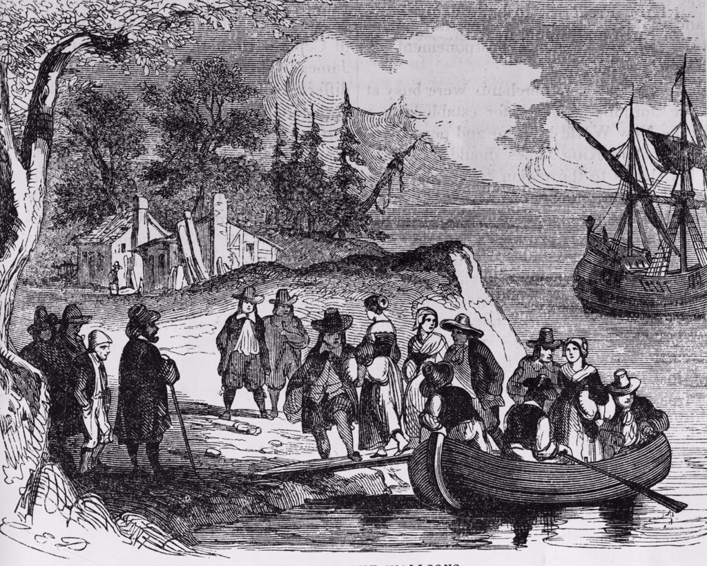 Stock Photo: 255-17365 Landing of the Walloons,  Landing of Dutch in New York by Carl Emil Doepler,  lithograph