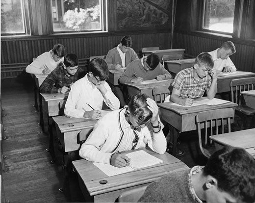 Students participating in exam : Stock Photo