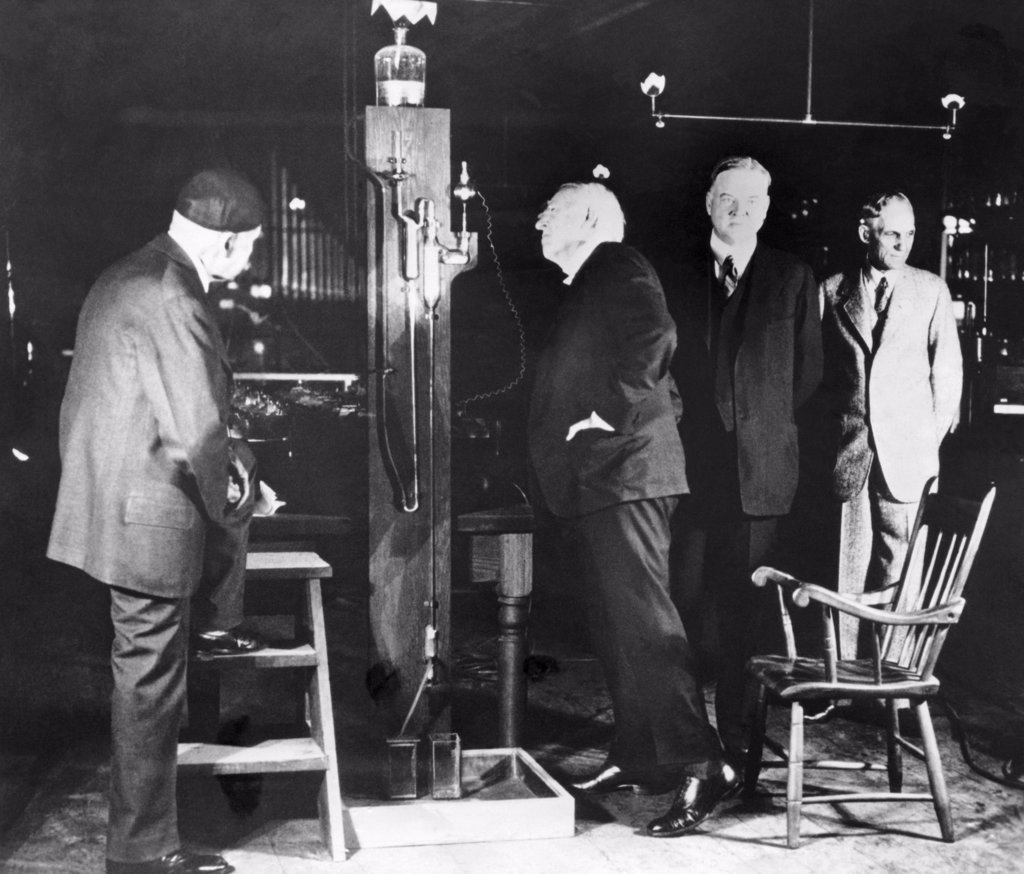 Stock Photo: 255-18888 Thomas Edison, President Herbert Hoover, Henry Ford, Commemorating the 50th Anniversary of Electric Light, At Menlo Park Laboratory relocated to Greenfield Village, Dearborn, Michigan