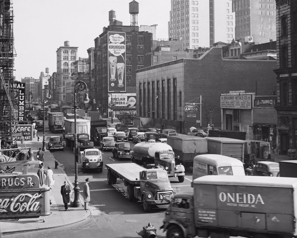 Stock Photo: 255-1972 Traffic in a street, Canal Street, Manhattan, New York City, New York, USA