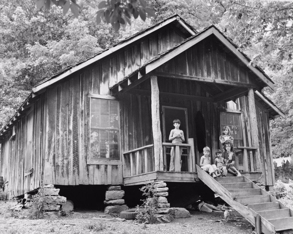 Stock Photo: 255-2001A Boys and girls in the porch of a house, Ozark Mountains, Arkansas, USA