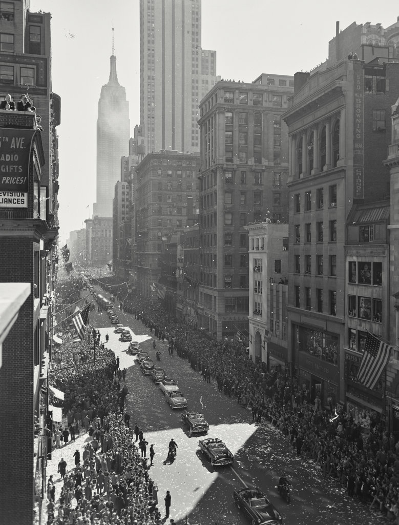 High angle view of a parade for General Douglas MacArthur, New York City, New York, USA : Stock Photo