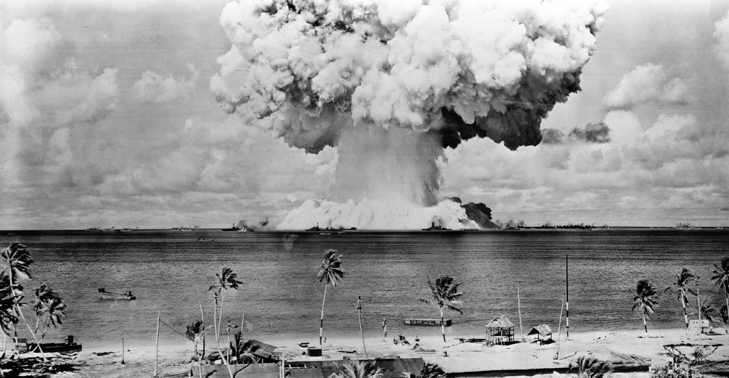Stock Photo: 255-2096 Atomic bomb explosion, Bikini Atoll, Marshall Islands