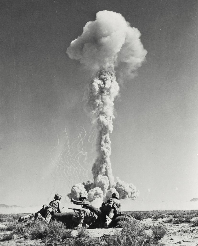 Stock Photo: 255-2097 Atomic bomb testing in a desert, Nevada, USA