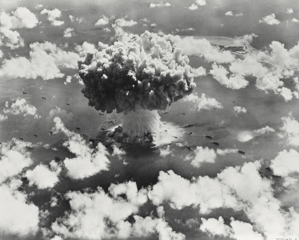 Stock Photo: 255-2102 High angle view of an atomic bomb explosion, Bikini Atoll, Marshall Islands, July 25, 1946