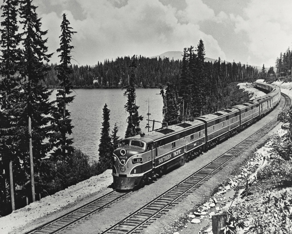 Stock Photo: 255-23225 High angle view of a passenger train near a lake, Southern Pacific Shasta Route, Odell Lake, Oregon, USA