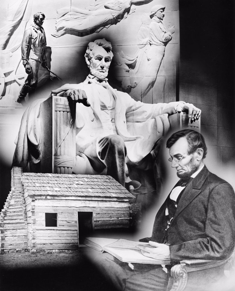 Stock Photo: 255-23801 Statue of Abraham Lincoln superimposed on the cabin where he was born, USA