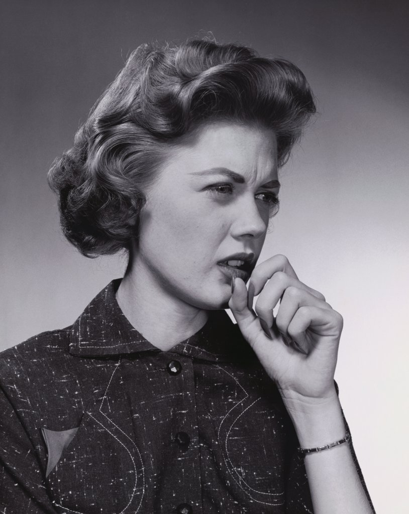 Young woman coughing : Stock Photo