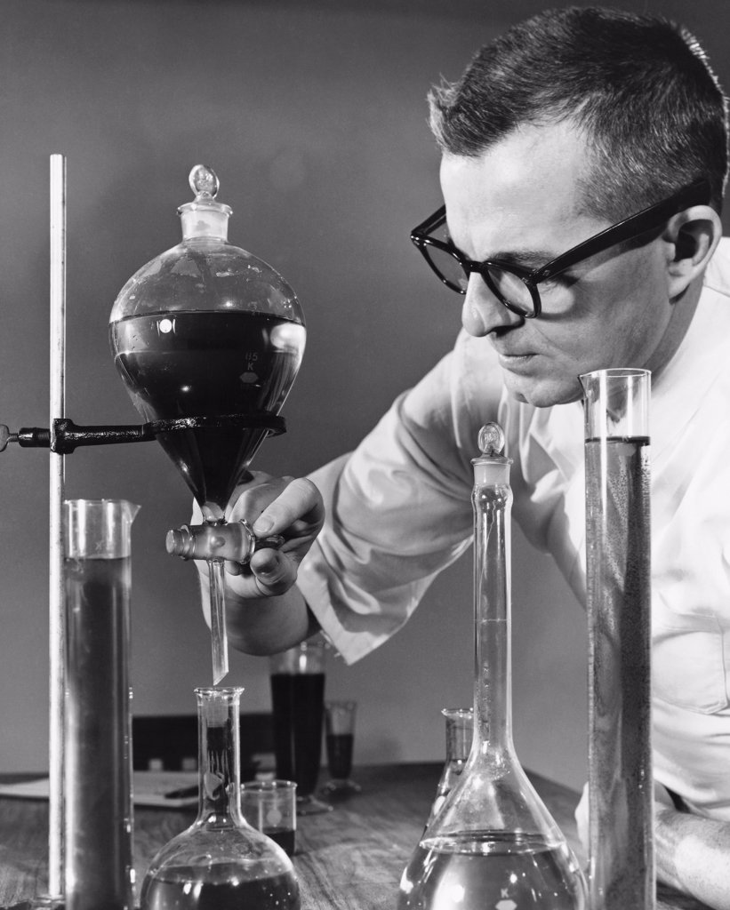 Stock Photo: 255-26470B Male scientist working in a chemical laboratory