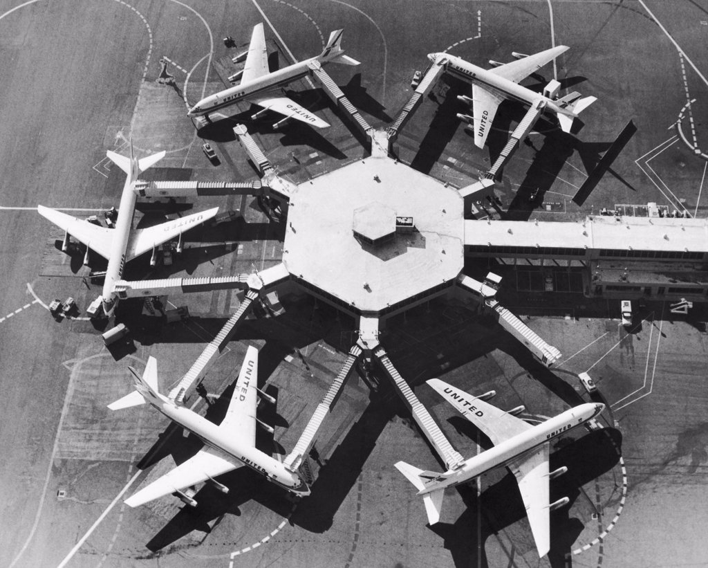 Aerial view of five airplanes at an airport, San Francisco International Airport, San Francisco, California, USA : Stock Photo