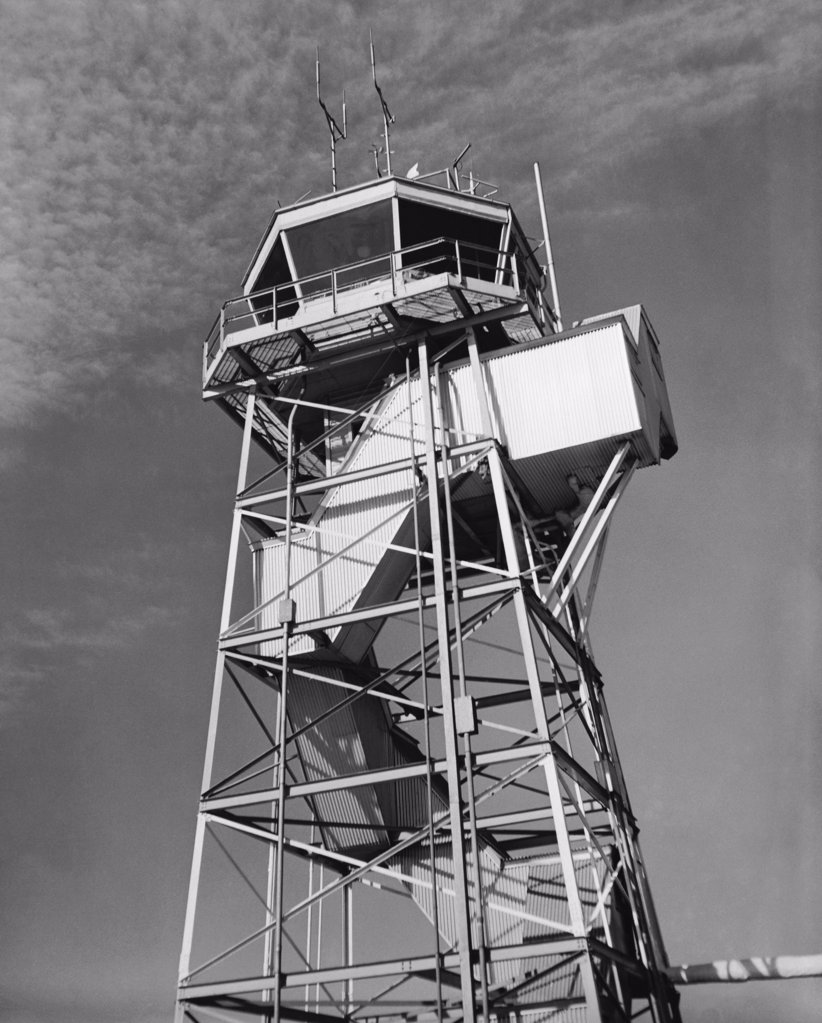 Low angle view of an air traffic control tower, Newark Liberty International Airport, New Jersey, USA : Stock Photo