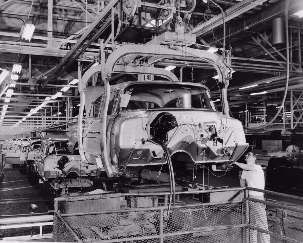 Stock Photo: 255-27126 Worker working in a automobile factory, Detroit, Michigan, USA