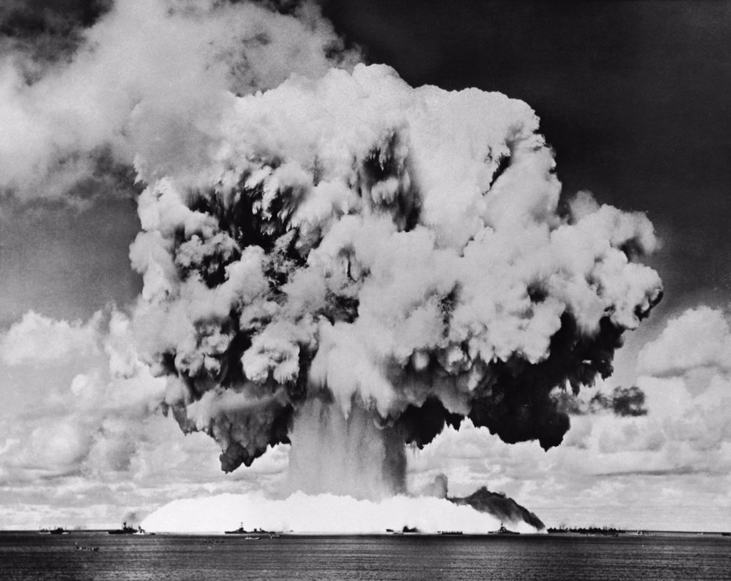 Atomic bomb explosion, Bikini Atoll, Marshall Islands, July 24, 1946 : Stock Photo