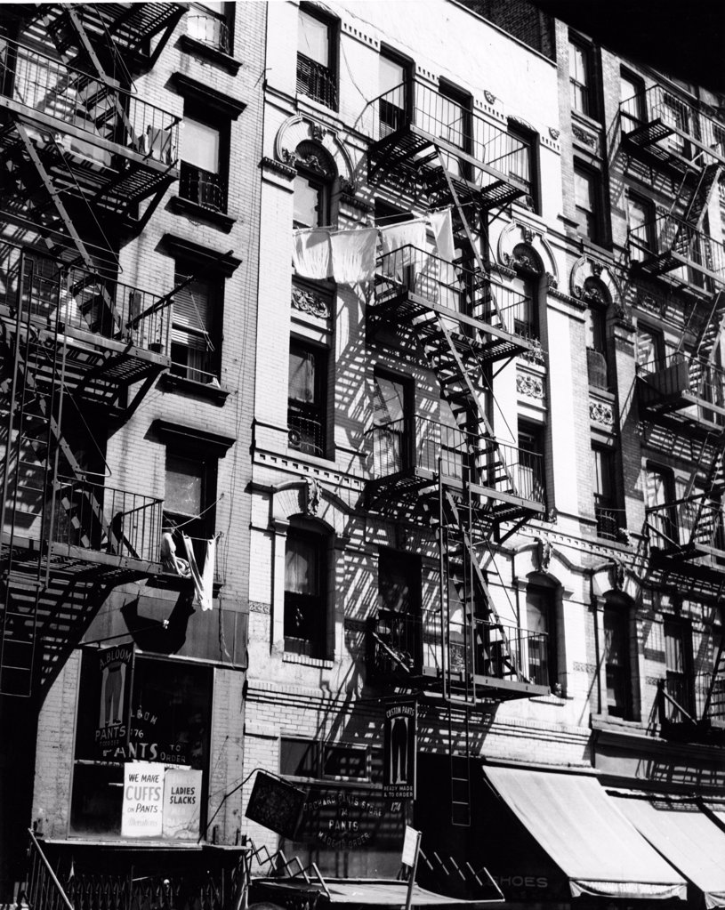 USA, New York City, low angle view of fire escapes of residential buildings : Stock Photo