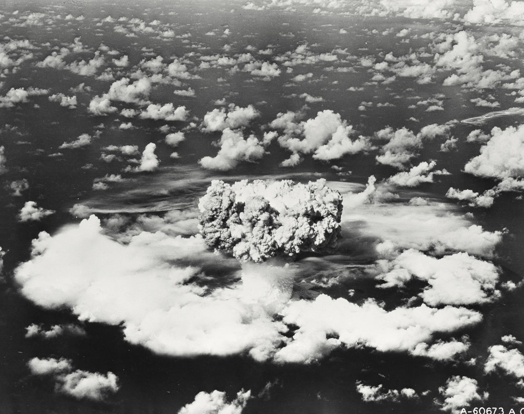 Stock Photo: 255-28448 Aerial view of an atomic bomb explosion, Bikini Atoll, Marshall Islands
