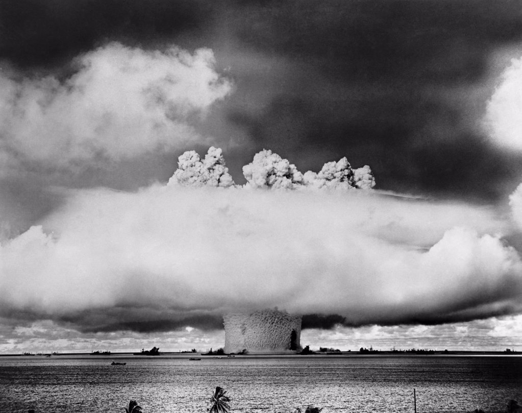 Atomic bomb explosion, Bikini Atoll, Marshall Islands : Stock Photo