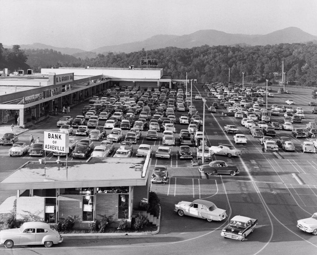 Stock Photo: 255-31766 High angle view of cars parked in front of a shopping mall, Westgate Shopping Center, West Asheville, North Carolina, USA