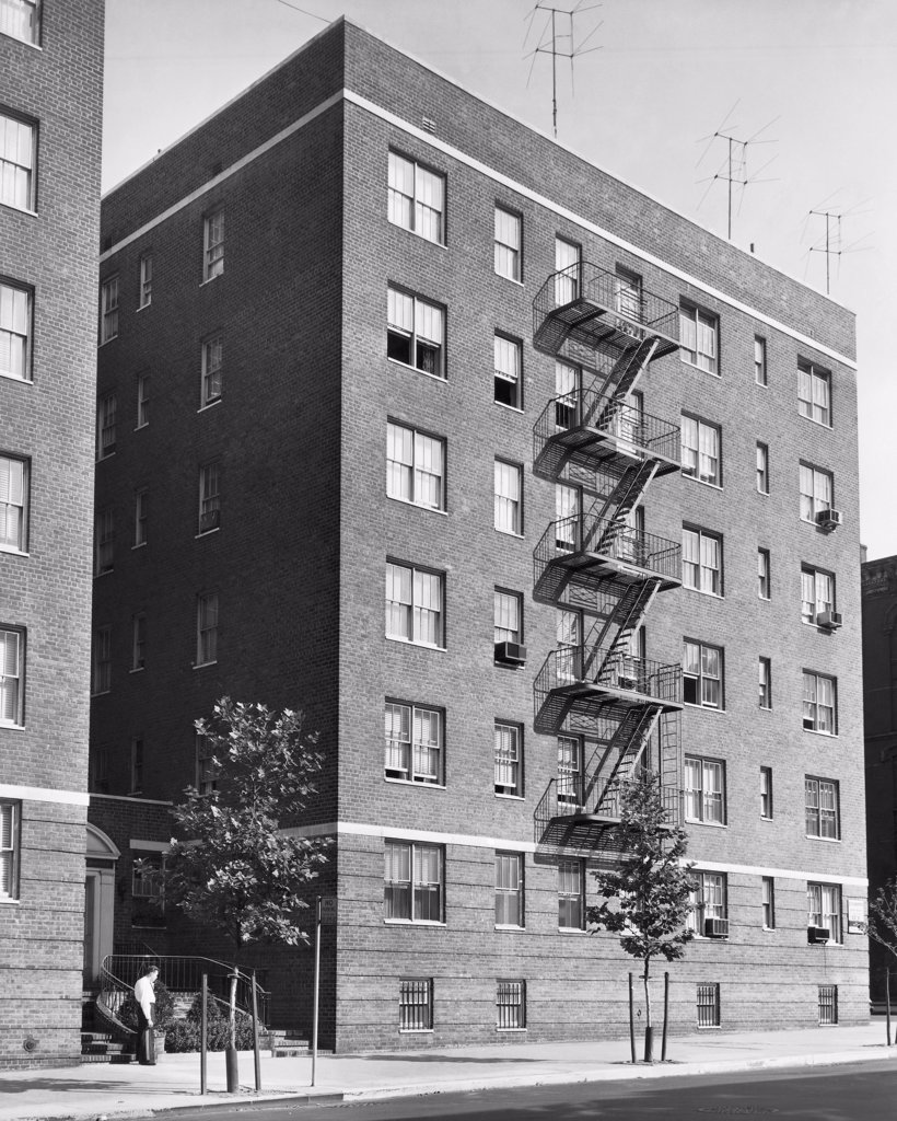 Stock Photo: 255-32407 Low angle view of fire escape of an apartment, York Avenue, New York City, New York State, USA
