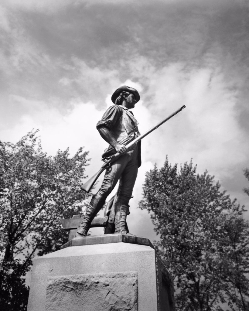 Stock Photo: 255-32565 Low angle view of a statue, Minuteman Statue by Daniel Chester French, Concord, Massachusetts, USA