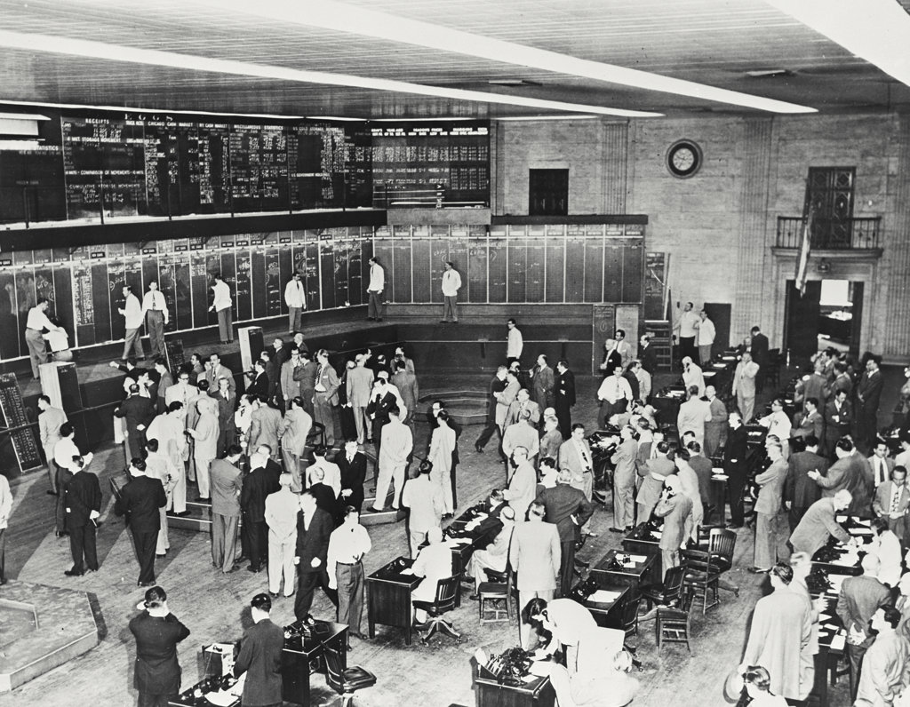 Stock Photo: 255-34082 High angle view of a group of people in a stock market, Chicago Mercantile Exchange, Chicago, Illinois, USA