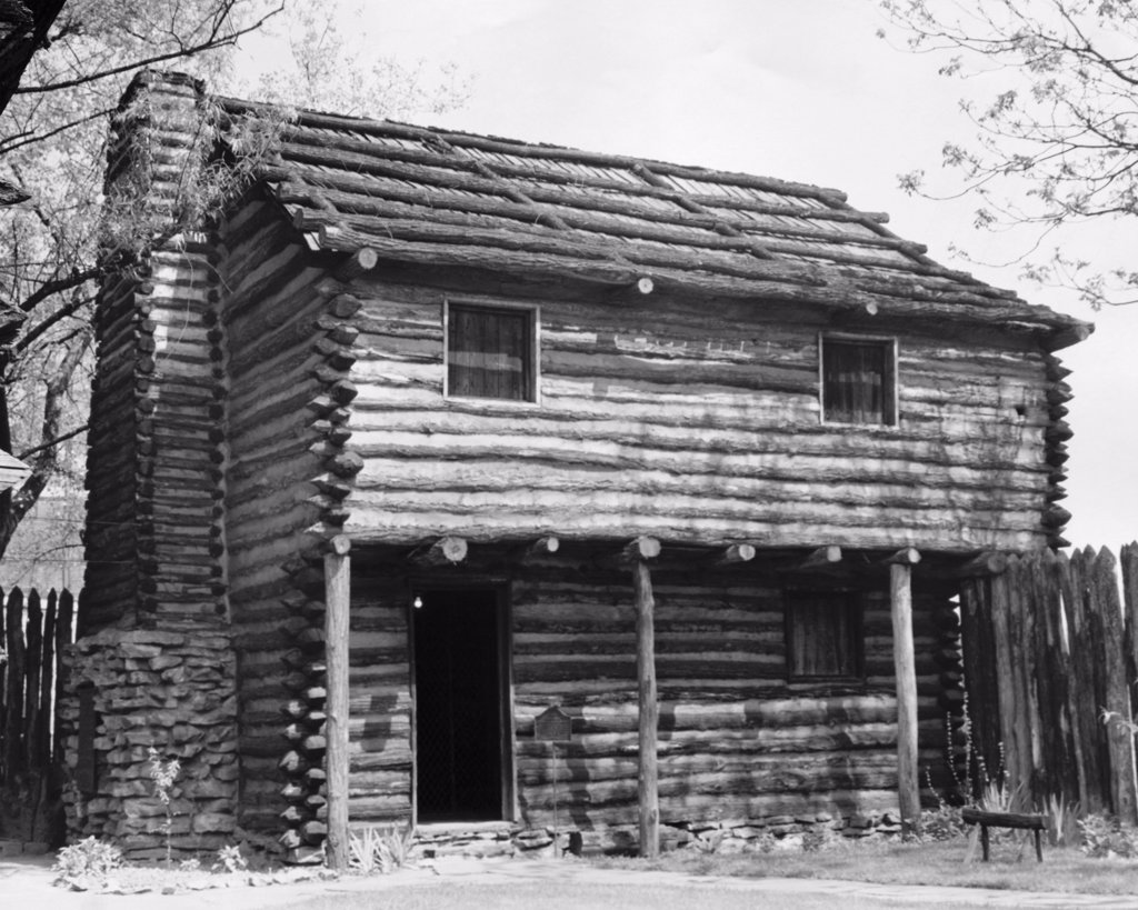 Stock Photo: 255-35671 Facade of a log cabin, Fort Nashborough, Nashville, Tennessee, USA