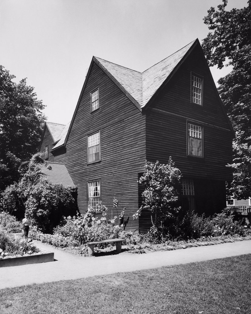 Stock Photo: 255-35688 Plants in front of a house, The House of the Seven Gables, Salem, Massachusetts, USA