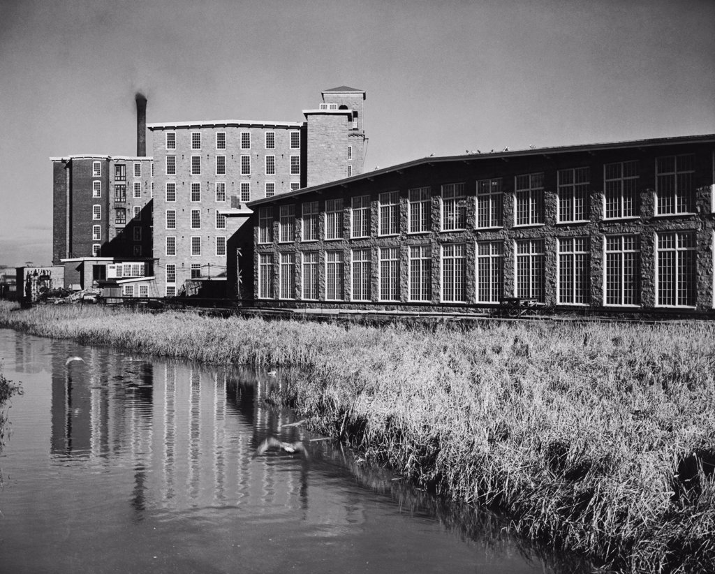 Textile industry at a riverside, Fall River, Massachusetts, USA : Stock Photo