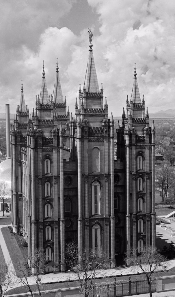 Stock Photo: 255-40159 High angle view of a temple, Mormon Temple, Salt Lake City, Utah, USA