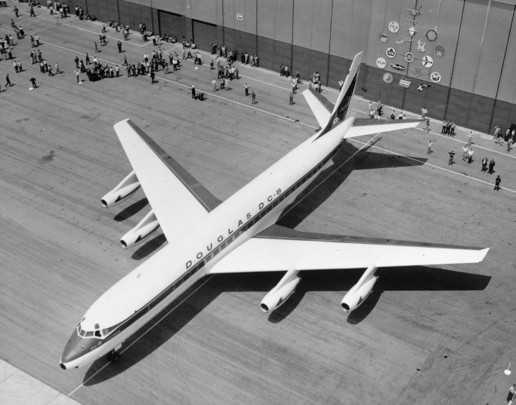 Stock Photo: 255-40523 Aerial view of Douglas DC-8 airplane at airport