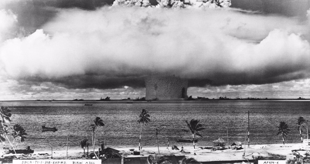 Stock Photo: 255-40792 Atomic bomb explosion, Bikini Atoll, Marshall Islands