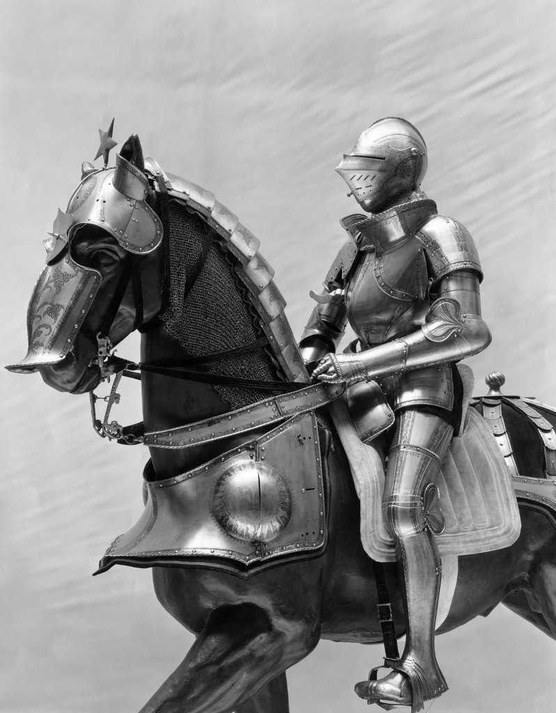 Stock Photo: 255-4151 Statue of a Knight riding a horse