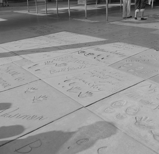 Stock Photo: 255-418518 USA, California, Los Angeles, Hollywood, imprints of movie stars made in cement at Grauman's Chinese Theatre on Hollywood Boulevard