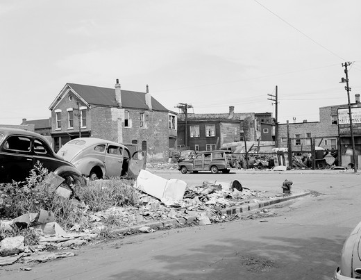 Stock Photo: 255-418923 USA, Illinois, Chicago, junk yard in suburban area