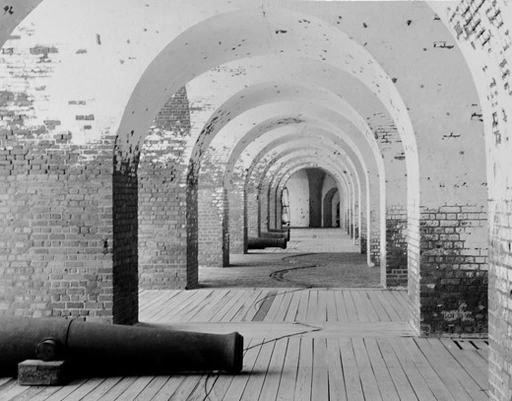 USA, Georgia, Fort Pulaski National Monument - gun gallery : Stock Photo