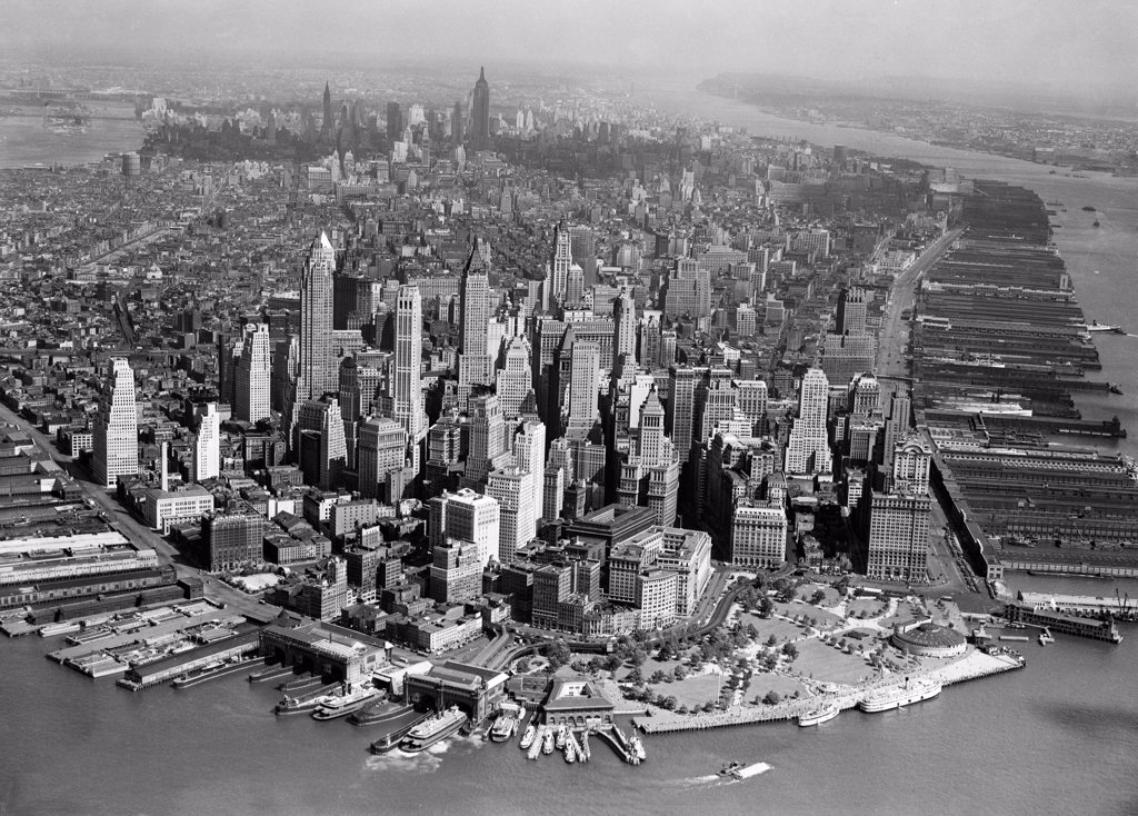 Stock Photo: 255-421185 USA, New York, New York City, Aerial view of Manhattan
