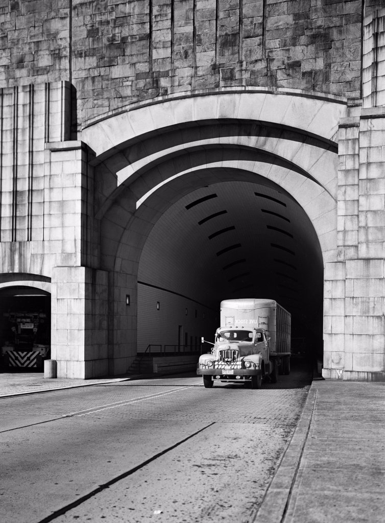 Stock Photo: 255-421241 USA, New Jersey, Weehawken, Truck exiting Lincoln Tunnel