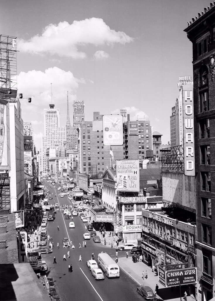 USA, New York, New York City, View of Broadway from vicinity of 46th Street : Stock Photo