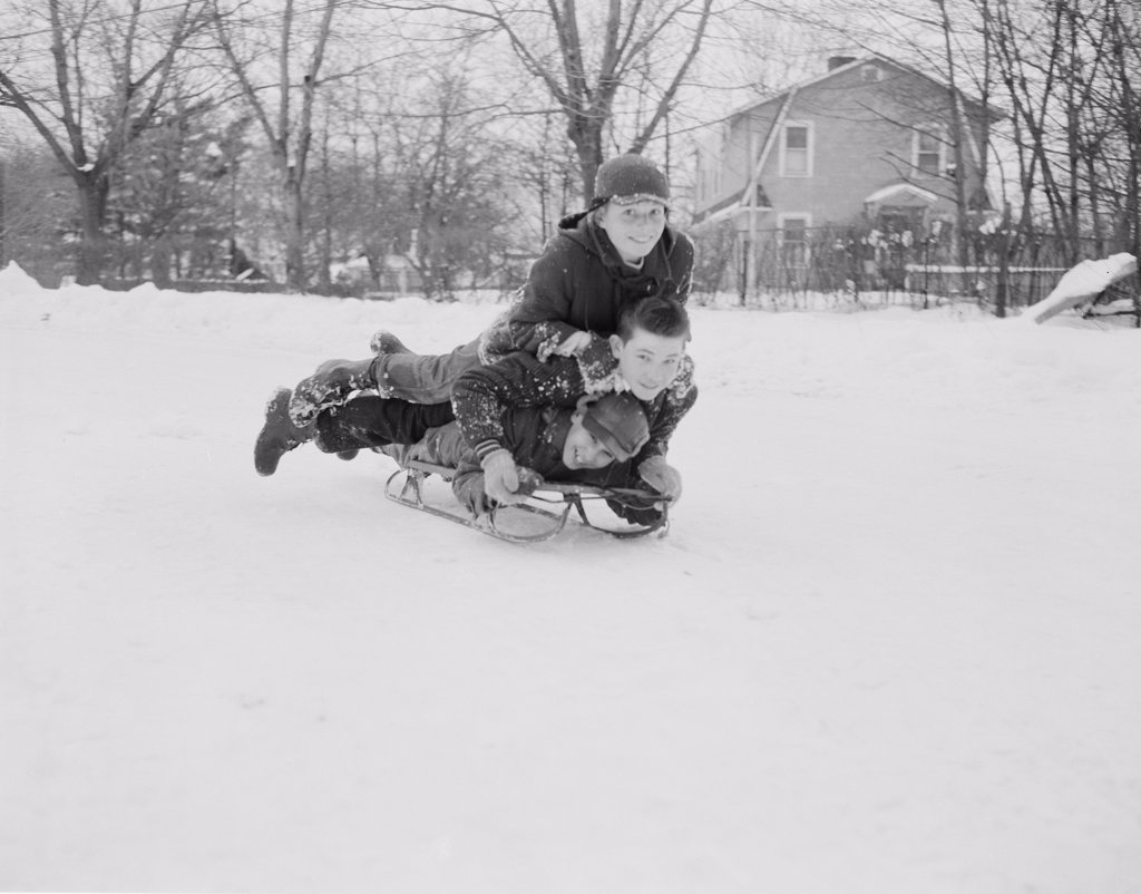 Stock Photo: 255-421621 Three boys sledding down on slope
