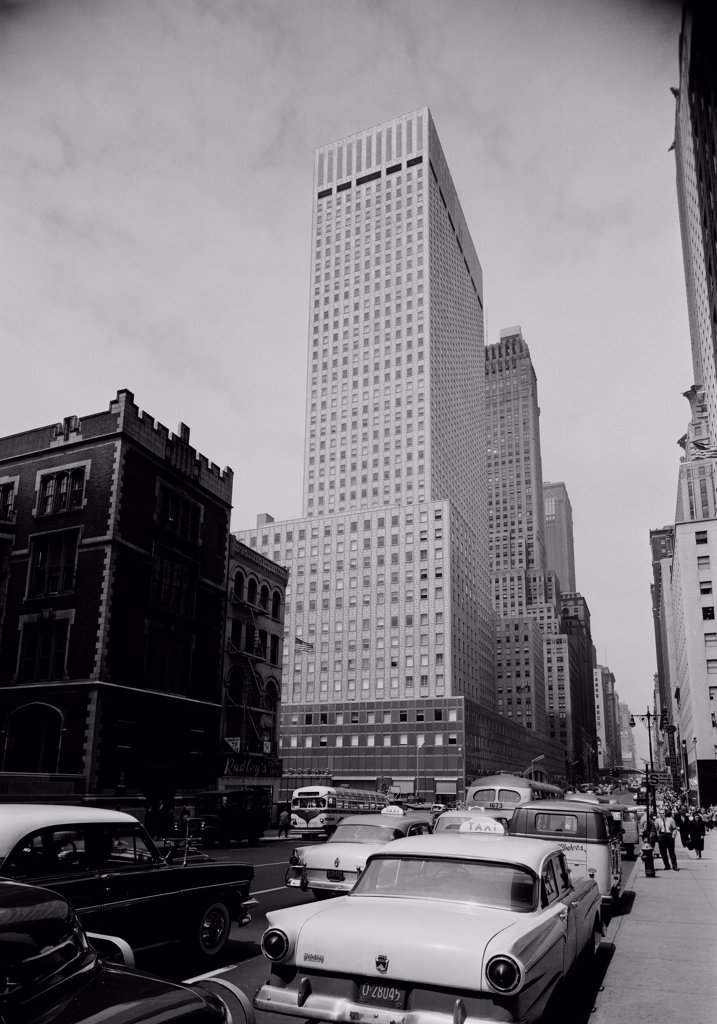 USA, New York City, Socony Mobile Building, 42nd Street and 3rd Avenue : Stock Photo