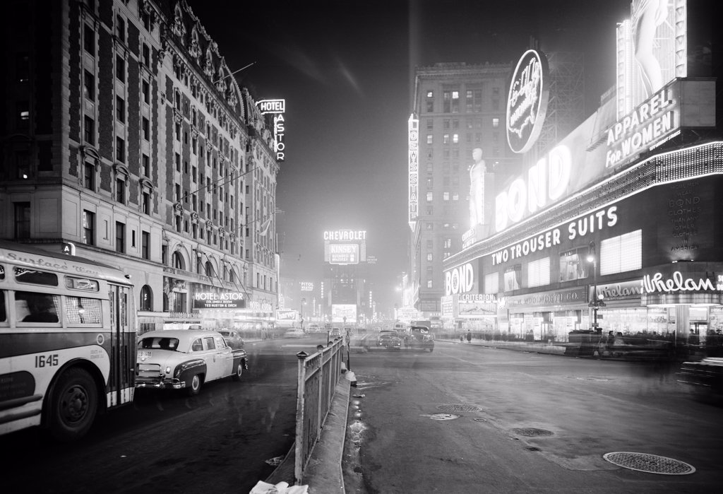 USA, New York City, Broadway at night, looking North on Times Square : Stock Photo