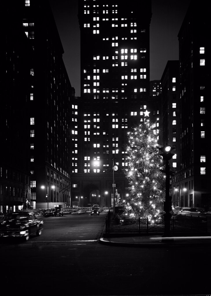 Stock Photo: 255-422529 USA, New York City, Manhattan, Christmas decorations on Park Avenue