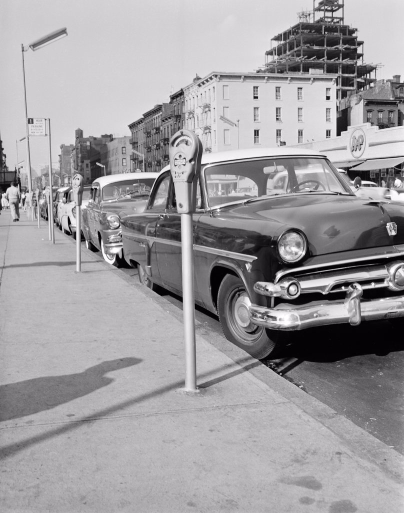 Stock Photo: 255-422598 USA, New York City, Manhattan, parked cars on 42nd Street