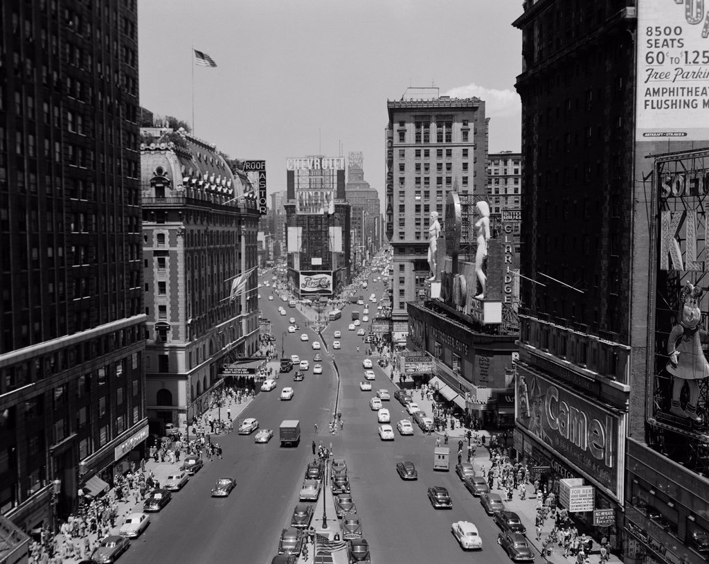 Stock Photo: 255-422924 USA, New York State, New York City, Times Square with Hotel Astor on left