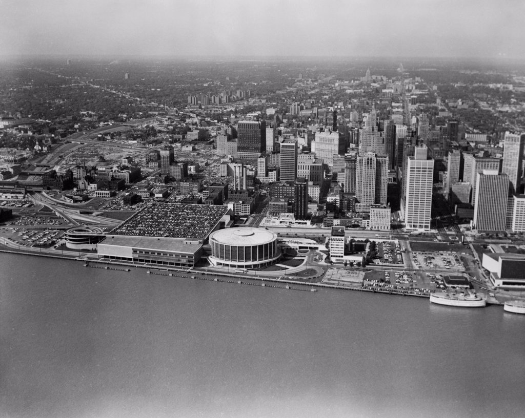 Stock Photo: 255-423370 USA, Michigan, Detroit, aerial view