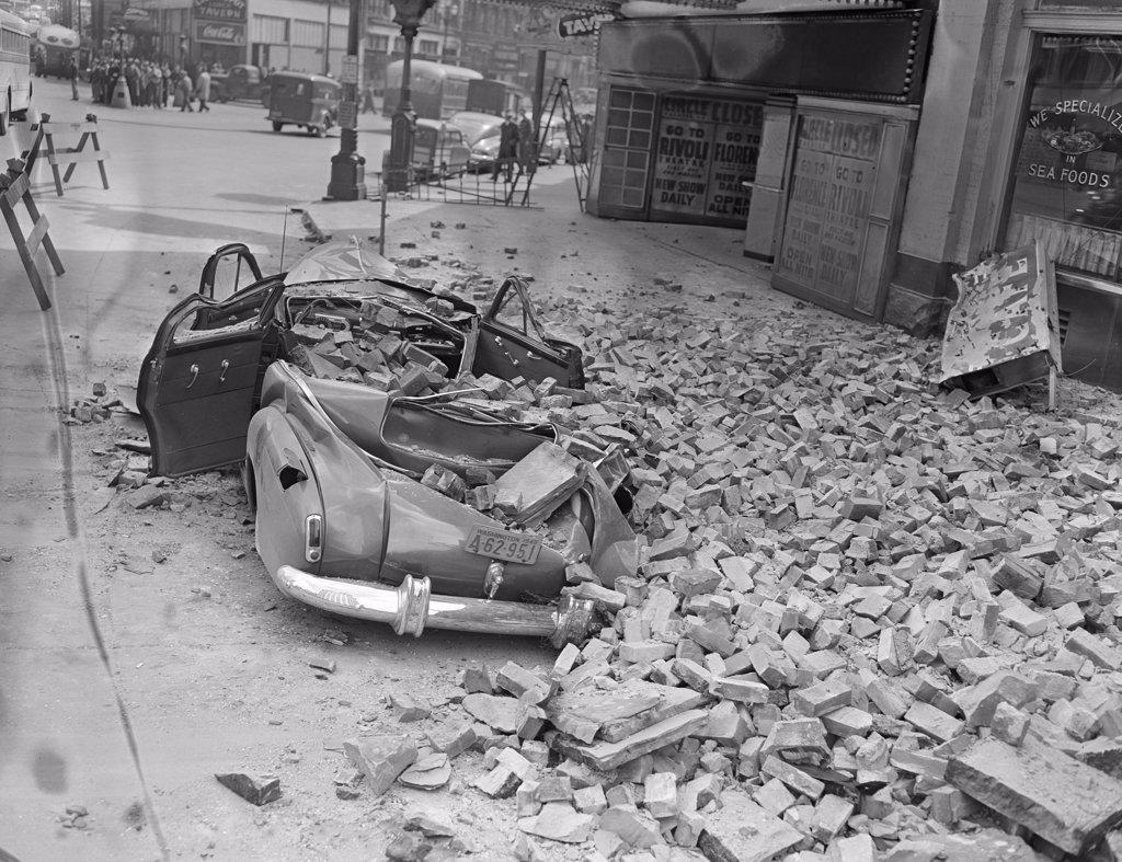 Stock Photo: 255-423810 USA,  Washington, Seattle, earth quake damage, car demolished by falling bricks