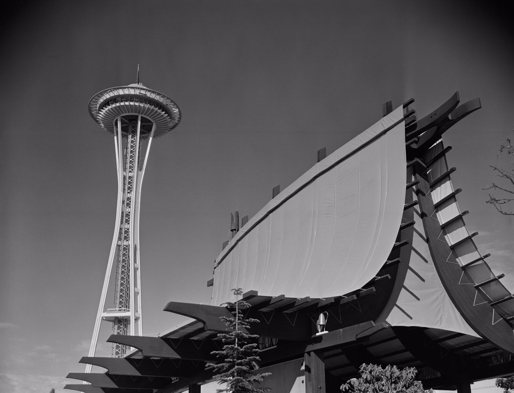 USA, Washington, Seattle World's Fair, pagoda in foreground, Space Needle in background : Stock Photo