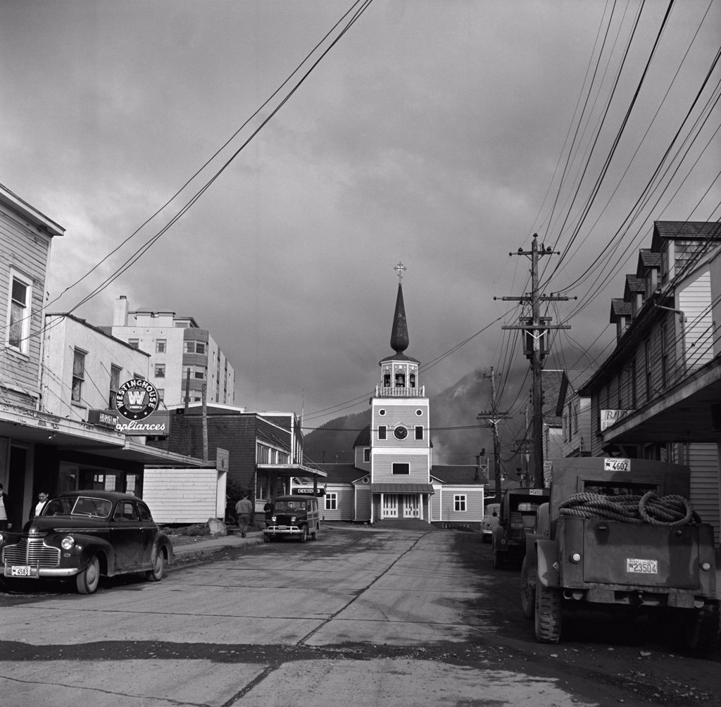 Stock Photo: 255-424244 USA, Alaska, Sitka, Main Street with Russian Church in background
