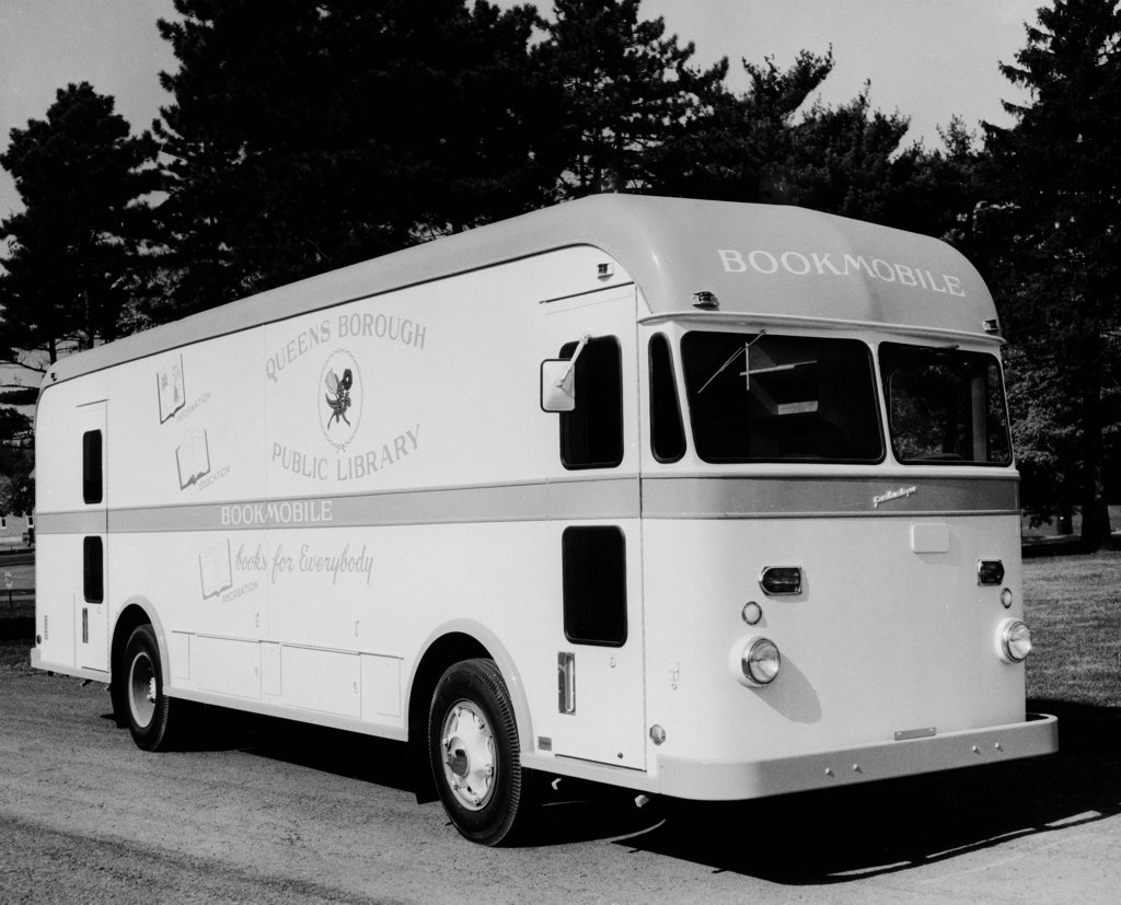 USA, New York City, Queens Borough Public Library, Bookmobile : Stock Photo
