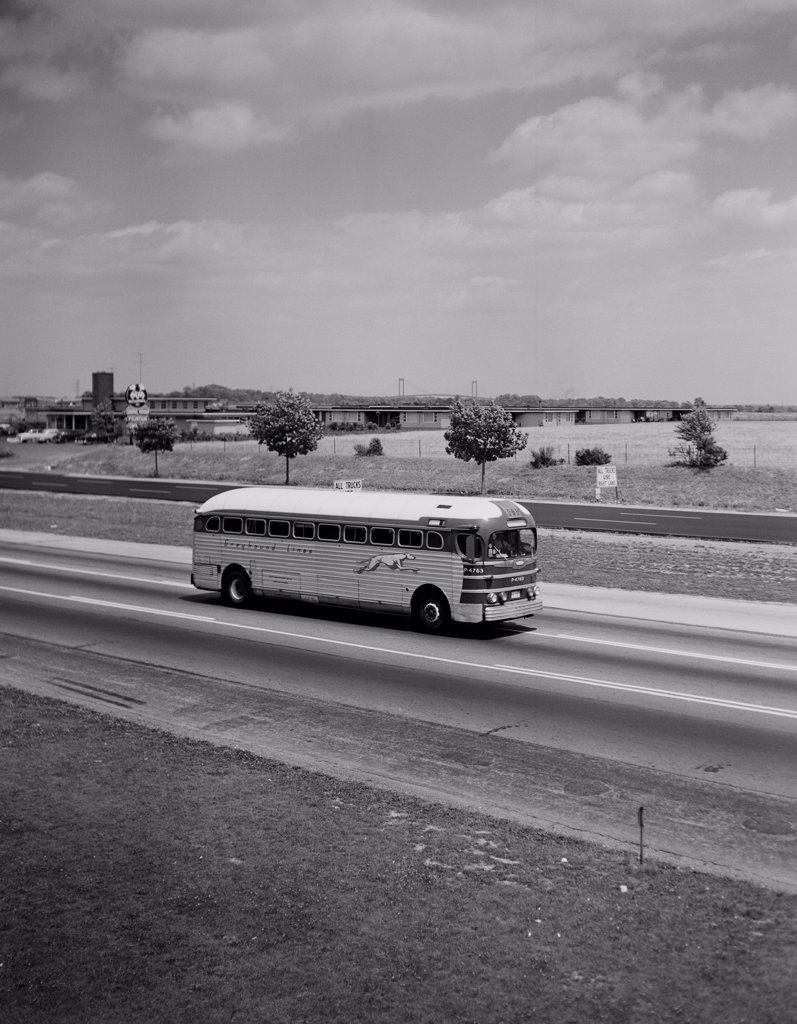Stock Photo: 255-424346 USA, Delaware, New Castle, Greyhound bus on US Route 13 Southbound